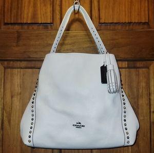 Coach Phoebe Studded Leather Hobo Shoulder Bag 37037 Cream White